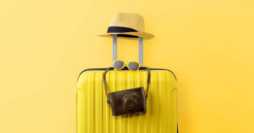 Suitcase with yellow background