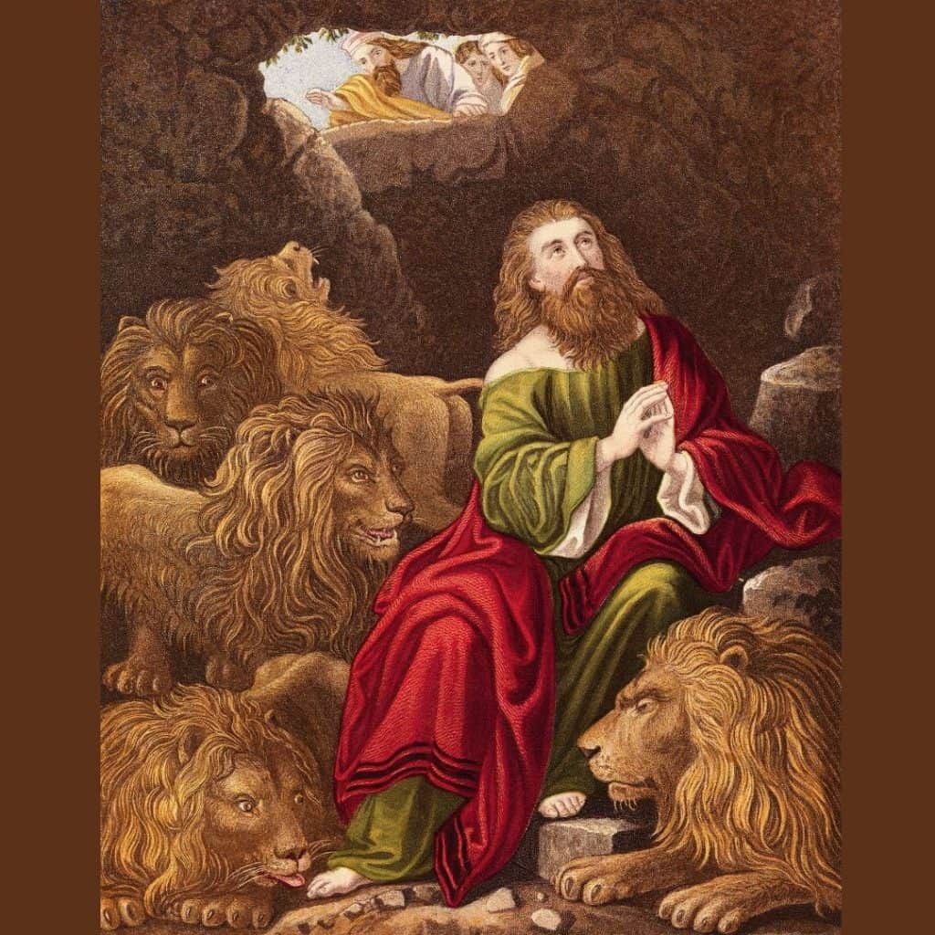 Drawing of Daniel in the lion's den
